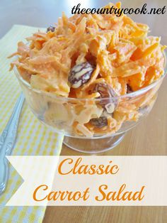 Classic Carrot Salad - it was a huge hit, I added Craisins but will use diced apple next time. It ends up with a lot of liquid so maybe serve in a small bowl.