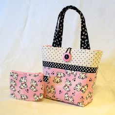 Cute Puppies Little Girls Purse Spotted Puppy Dogs Mini Tote Bag and Coin Purse Set Pink Black White Polka Dot Handmade MTO Patchwork Bags, Quilted Bag, Kids Purse, Diy Bags Purses, Bag Patterns To Sew, Denim Bag, Fabric Bags, Girls Bags, Handmade Bags
