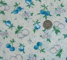 vintage feedsack fabric  BLUE CHERRIES & PEARS by NauvooQuiltCo, $5.50