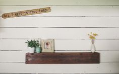 48x7 Rustic Driftwood and Barn Board Floating Shelf with antique hand forged nails. A one-of-a-kind original piece of functional art from FoundPiece.com