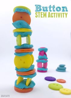 Button STEM Activity Challenge for Kids. How high can you build your button tower?