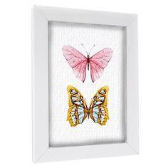 Pink and Yellow Butterflies, Framed Print, 30x40x3.4 cm