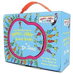 Hit the road reading with Dr. Seuss! Tucked inside this cute little blue box topped with a plastic handle and secured by a tuck closure are board book editions of the classic Dr. Seuss titles Hop on Pop; Oh, the Thinks You Can Think!; ...