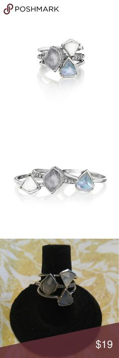 Alpenglow Stackable Rings Set of 3 stackable rings, wear them together or each one separate.   Shiny rhodium-plated Nickel-free plating Size 7 Semi-precious cloud quartz, blue + white mother-of-pearl inlay, clear crystal pave. Chloe + Isabel Jewelry Rings