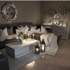 49 Small Cozy Living Room Decor Ideas For Your Apartment Living Room Decor Cozy, Living Room Grey, Home Living Room, Apartment Living, Living Room Designs, Cozy Apartment, Apartment Furniture, Living Room Decor Themes, Living Room Candles
