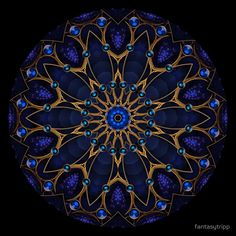 'Blue Jewel Kaleidoscope' by fantasytripp Mandala Drawing, Mandala Painting, Mandala Art, Geometric Mandala, Mandala Design, Spiritual Paintings, Dot Art Painting, Hippie Art, Mandala Coloring