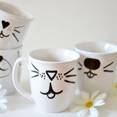 Create your own animal face mugs using only a sharpie, mug and oven.