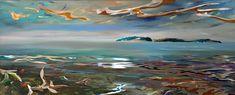 Lone Shore, Mixed Media by Joel Masewich Night Sky Painting, Sunrise Painting, Star Painting, Headboard Art, Modern Art, Contemporary Art, Winter Sky, Cast Glass, Summer Sky