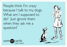 People think I'm crazy because I talk to my dogs. What am I supposed to do? Just ignore them when they ask me a question?