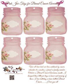 """FREE"" pink jar tags honoring Breast Cancer Awareness"