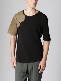 Yohji Yamamoto  Leather Panel T-Shirt