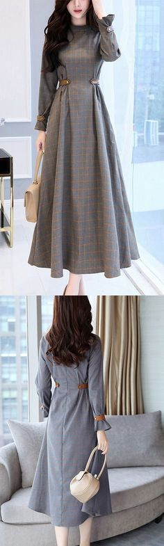 Women's Party Going out Simple Slim Swing Dress Check Patchwork Stand Maxi Long Sleeves Cotton High Waist Dress