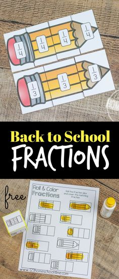 FREE Back to School Fractions - hands on activities to understand fractions, roll and cover fraction worksheets, fraction graphing and more! LOW PREP that can be printed in color or black and white and is perfect for kindergarten, first grade, or 2nd grade math centers, homeschool, summer learning, or math activity.