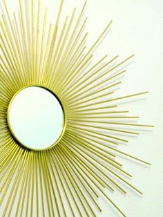 diy sunburst mirror made with skewers