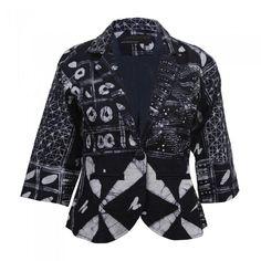 African Indigo Batik Blazer, Print Blazer | Urbanknit
