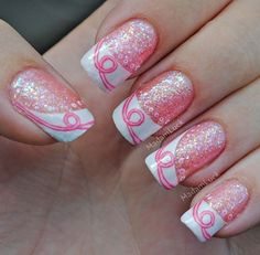 Breast Cancer Awareness Inspired Nail Art