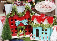 DIY Christmas Decor: Glittered Holiday Houses