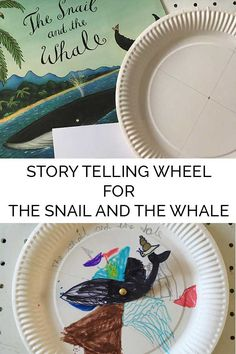Create a story wheel to help with comprehension and story telling language skills with kids based on the book The Snail and the Whale by Julia Donaldson