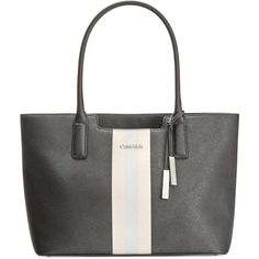 Calvin Klein Printed Saffiano Tote ($198) ❤ liked on Polyvore featuring bags, handbags, tote bags, eclipse stripe, calvin klein, striped handbag, striped tote bag, stripe handbag and stripe purse