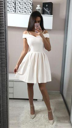 Rozkloszowana Sukienka z Opadającymi Ramiączkami Ecru SHE24 - #Vestidosbonitos #Vestidoscortos #Vestidosdefiesta #Vestidosdemoda #Vestidoselegantes #Vestidoslargos