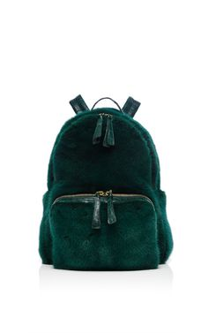 Forest Green Mink Backpack by Nancy Gonzalez for Preorder on Moda Operandi