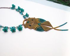 Micro macrame necklace Gold Teal Owl Bird от MartaJewelry на Etsy