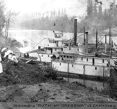 "stern-wheelers ""Ruth"" and ""Oregona"" at the Willamette River landing at Champoeg, Oregon, ca 1910 :: Ben Maxwell Collection"