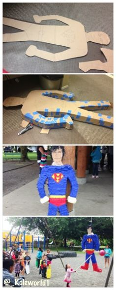 Easy DYI low cost Superman Piñata! 2 moving boxes from Walmart 3$. Birthday Streamers from the dollar store, tape, boxing knife, and patients! The kids loved it!