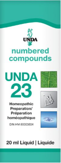 Unda 23 - is indicated for incontinence of urine, kidney stones, and inflammation of the urinary tract. Unda 23 is an excellent remedy for the kidneys and the urinary tract.