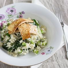 Risotto with asparagus, spinach and chard with crispy sesame tofu.
