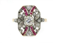 Antique Edwardian Ruby and Diamond ring in Platinum and 14K. LOVE THE DETAIL!