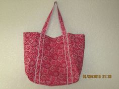 """Double Extra Large Durable 15.5"""" Grocery Shopper Reversible Market Tote Bag REDDISH-PINK Bandana  CLEARANCE 20% Off Was 19.50* by ShawnasSpecialties on Etsy"""