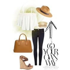 Wedges & Floppy Hat by greylooks on Polyvore featuring polyvore, fashion, style, Ted Baker, Dsquared2, Prada and Express