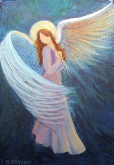 """Original Acrylic Painting Spiritual Healing Angel  5""""x 7"""" Silver by Breten Bryden,  BrydenArt.com"""