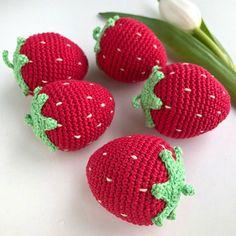 1 Pc Crochet Strawberry/ Teething Toy/ Play food for kids/ Pretend Play/ Crochet Fruit/ Amigurumi