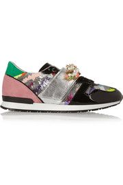 Shourouk Embellished patent-leather and suede sneakers