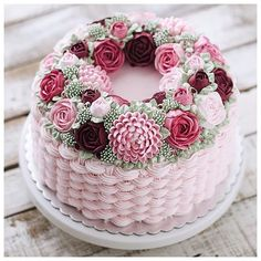 Beautiful buttercream flower cake