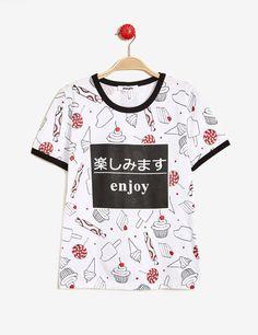 tee-shirt imprimé bonbons écru, noir et rouge