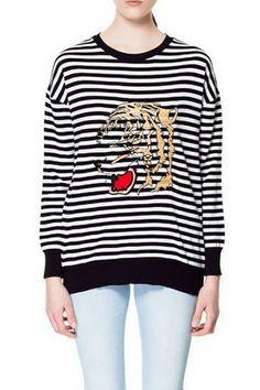 Tiger Embroidery Fashion Striped Knitwear Maglioni A Pullover 924579169878