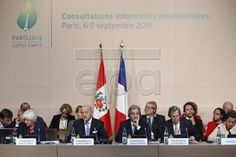epa04916357 French Foreign Affairs Minister and COP 21 President Laurent Fabius (3-L) and Minister of the Environment of Peru and COP20 President Manuel Pulgar-Vidal (3-R) deliver a speech as they open the first series of informal ministerial consultations to prepare for COP 21, at the Ministerial C