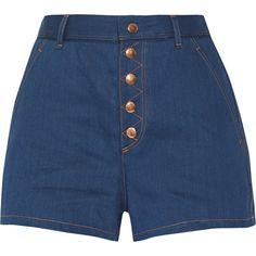 Rag & bone Branson high-rise denim shorts ($163) ❤ liked on Polyvore featuring shorts, bottoms, indigo, jean shorts, high-rise shorts, short jean shorts, high waisted shorts and retro shorts
