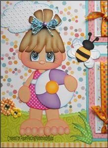 2 Premade 12x12 Paper Pieced Scrapbook Pages Fun in the Sun-By Babs
