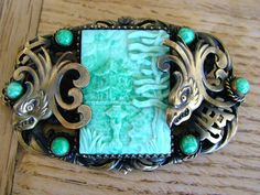 RARE NEIGER BOTHERS CZECH ART DECO CHINESE BROOCH PEKING GLASS PHOENIX ANTIQUE