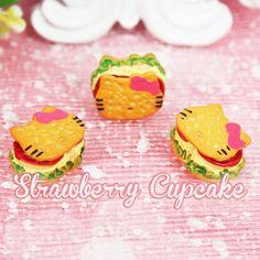 6 x Hello Kitty Cookie Burger Kawaii Cabochon Fake Miniature Sweets Food Deco Cabochons Decoden