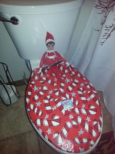 Elf wrapped or toilet lid for the kids :)