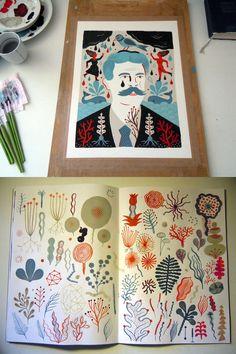 En ce moment à l'atelier… Illustration à la gouache pour une exposition collective et carnet de recherches pour un projet de livre en cours.
