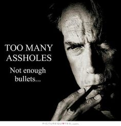 Too many assholes. Not enough bullets. Picture Quotes.