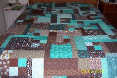 Teal and brown turning 20 queen size quilt by passingtime304, $299.00