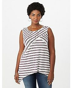 226a787c95a4c Plus Size Striped Sharkbite Tank - 103619627