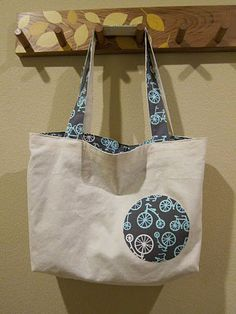 I love this pattern! Handmade tote bag